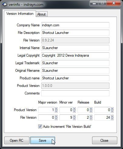 Auto Increment Version Information Pre-build tool for Delphi XE2 using VerInfo