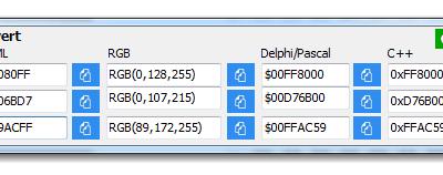 ColorConvert – Convert color code to RGB, HTML, Delphi/Pascal, C++
